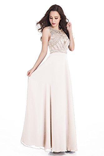 MisShow Damen elegant Chiffon Abendkleider Cocktailkleider Maxilang Strass Ballkleider Ivory 32