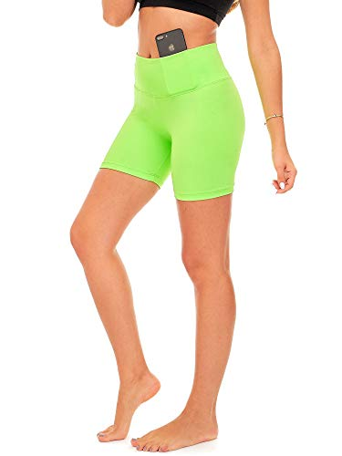 DEAR SPARKLE Yoga Shorts Running Short for Women High Waist Workout 5 Inch Bike Shorts with Pockets (S14) (Neon Lime, Large)