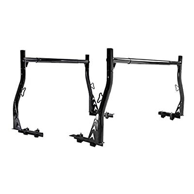 AA-Racks Model X33 Low-Profile Pickup Truck Ladder Racks with (8) Non-Drilling C-Clamps Steel Utiity Two-bar Set - Matte Black