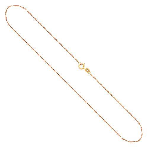 Echtgold Kette Damen 1 mm, Singapurkette 585 Gold, Goldkette mit Stempel und Federringverschluss, Länge 50 cm, Gewicht ca. 1 g, Made in Germany