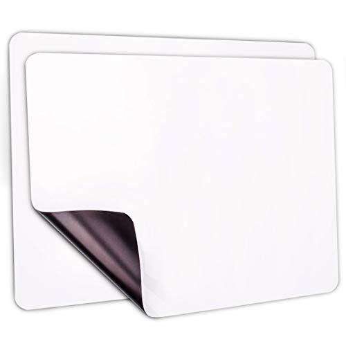 Pizarra blanca magnética A4 de borrado en seco, 2 unidades, para refrigerador de cocina, pizarra blanca, organizador y planificador, nueva tecnología resistente a las manchas (29,7 x 8,1 cm)