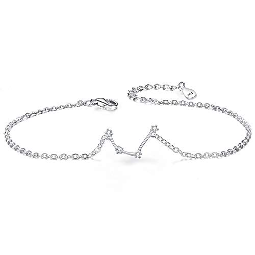 Clearine Armkette Sternzeichen 925 Sterling Silber CZ 12 Sternbild ''Wassermann'' Einfach Stil Armband für Damen Mädschen
