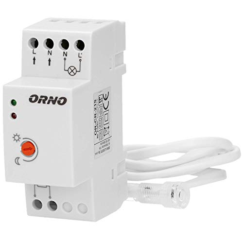 ORNO CR-219 Interruttore Crepuscolare 10W - 2300W IP65 Resistente All\'acqua 4 Tipi (Montaggio DIN precablato)