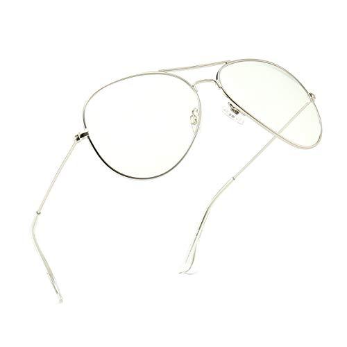 Dollger Aviator Blue Light Blocking Glasses Clear Lens Non-Prescription Metal Frame Eyewear for Men Women Silve
