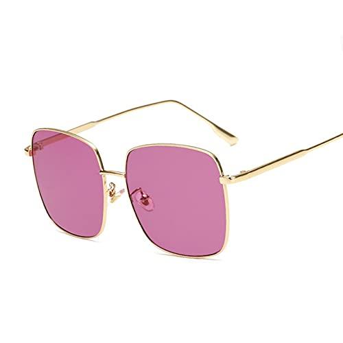 Heigmz Nvtyj Gafas de sol retro de metal para mujer con montura grande, espejo océano, color dorado y morado