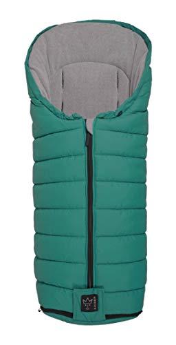 Kaiser 6570956 Finny - Saco de abrigo para carrito de bebé (forro polar), color gris claro y turquesa