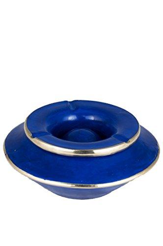 Orientalischer Aschenbecher für draußen mit Deckel Lalasa Blau 16cm Groß | Marokkanischer Windaschenbecher aus Tadelakt Bunt mit Silber-Rand verziert | Sturmaschenbecher als Geschirr & Dekoration