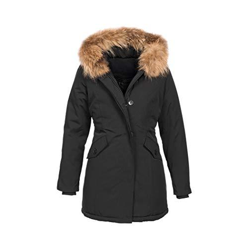 Elara Damen Winterjacke Echt Fell Mantel Schwarz Chunkyrayan 6015 Black 50/5XL