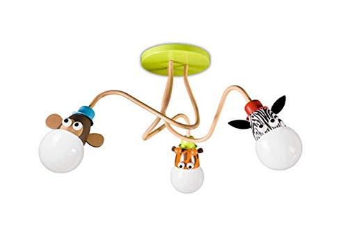 Plafoniere Camera per bambini moderna zoo romantico cartone animato animale ragazzi acrilici e ragazze in lampadario scuola materna principessa LED,3 lights