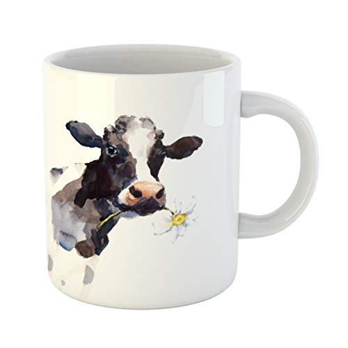 Emvency Coffee Tea Mug Gift 11 Ounces Funny Ceramic Watercolor Cow A Daisy Flower in Its Mouth Farm Animal Portrait H Gifts For Family Friends Coworkers Boss Mug