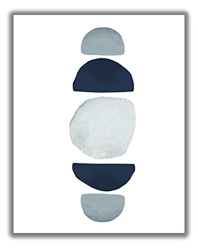 Abstract Blue Moon Phases Watercolor Wall Art. 11x14 UNFRAMED Print. Abstract, Minimalist Modern Wall Decor. Shades of Blue and White.