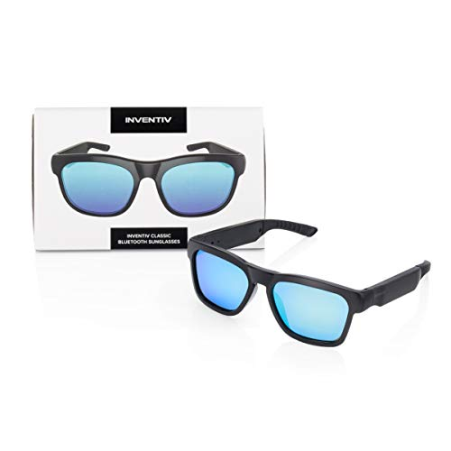 Inventiv Wireless Bluetooth Audio Sunglasses, Open Ear Headphones Music & Hands-Free Calling, for Men & Women, Polarized Glasses Lenses (Black Frame/Blue Tint)