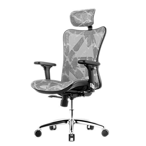 Silla ergonómica de oficina Silla de oficina ergonómica, silla de computadora cómoda en casa con soporte lumbar ajustable y altura del asiento, sillas de tareas, silla ejecutiva giratoria de 360 ° S