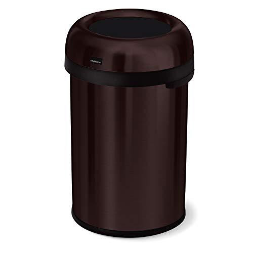 simplehuman 115 Liter / 30 Gallon Bullet Open Top Trash Can Commercial Grade, Heavy Gauge Dark Bronze Stainless Steel
