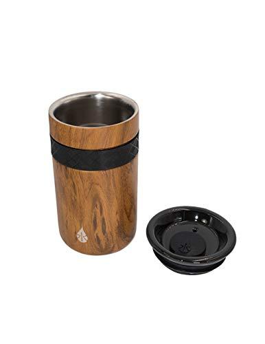 Elemental Tumbler 18/8 Stainless Steel Triple Wall Copper Insulation, 16 oz Teak Wood
