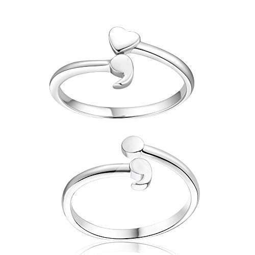 choice of all 2Pcs Stainless Steel Semicolon Heart Ring, Inspirational Ring for Girls Size 6-10
