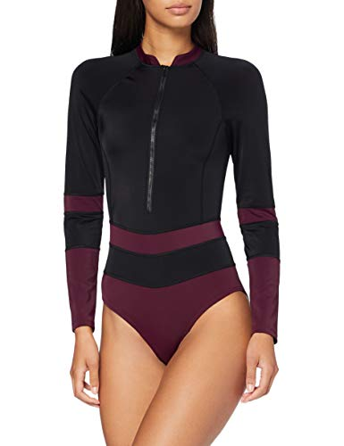 Amazon-Marke: AURIQUE Damen Sport-Monokini, Schwarz (Schwarz/Pickled Beet), XL, Label:XL