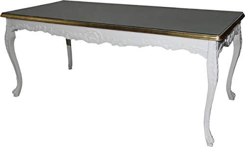 Casa Padrino Barock Esstisch leicht Cremebarben/Gold 200 cm x 90 cm- Esszimmer Tisch - Antik Stil Möbel - Limited Edition