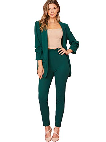 SheIn Women's Two Piece Plaid Open Front Long Sleeve Blazer and Elastic Waist Pant Set Suit Green Large