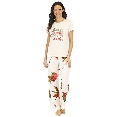 Conjuntos de Pijamas para Mujer Pijamas de Dos Piezas con Cuello Redondo de Manga Corta para Mujer Ropa de Dormir Estampado de Pantalones