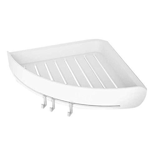 Ventosa de plástico Estante de esquina Organizador de baño Ducha Estante de pared para inodoro, blanco