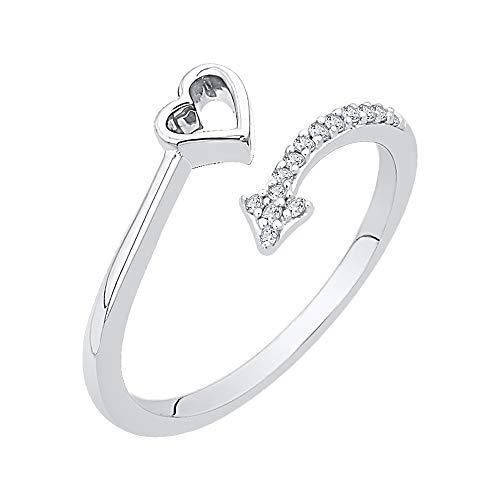 KATARINA Anillo de corazón y flecha de derivación de diamantes en oro blanco de 14 k (1/10 cttw, J-K, SI2-I1) (Tamaño-9.5)
