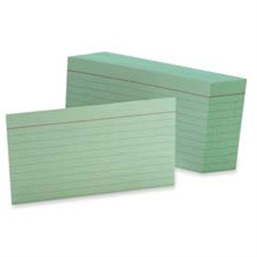 Esselte Pendaflex Corporation Products - Index Card, Ruled, 4amp;quot;x6amp;quot;, 100/PK, Green - Sold as 1 PK - Make note-taking easy and fun with colored ruled index cards. Cards are rotary cut for uniform height and printed with rules on one side, blank on the other. These colorful cards have 8 point thickness and 90 lb. basis weight.