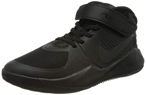 Nike Team Hustle D 9 Flyease Basketball Shoe, Black/Black-Dark Smoke Grey-Volt, 39 EU