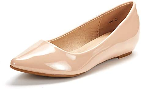 DREAM PAIRS Women s Jilian Nude Pat Low Wedge Flats Shoes 8 5 M US product image