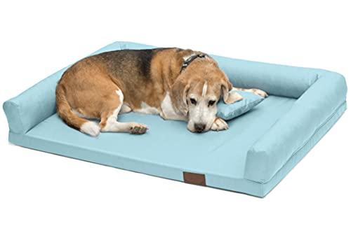 Artur Soja Lucky Ortho Orthopädisches Hundebett mit abnehmbarem Bezug Hundekorb Hundekörbchen Hundesofa Schlafplatz Hundekissen Größe: M-XXL (L 100x75cm, hellblau (Nr.07))