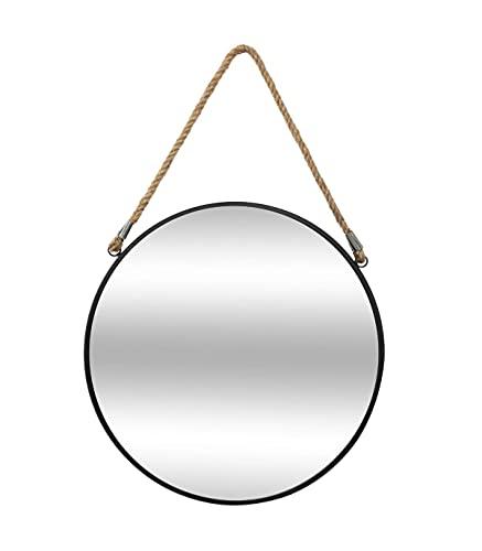 Atmosphera - Miroir Rond en métal Noir avec Corde D55 cm