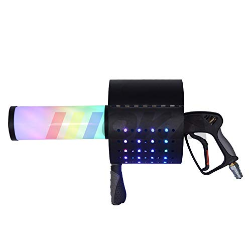 AZALMU Handheld CO2 Confetti Cannon Gun with LED Portable Smoke Fog Machines Manual for Stage Effect Weddings Nightclub Bar DJ Halloween