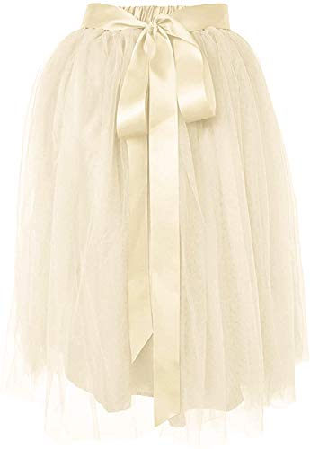 Dancina Women's Knee Length Tutu A Line Layered Tulle Skirt Plus (Size 12-22) Ivory