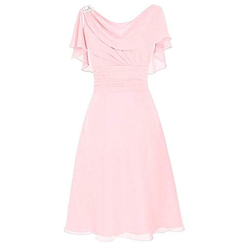 Aniywn Women Formal Wedding Bridesmaid Dress Plus Size High-Waist Party Ball Prom Gown Cocktail Dress Pink