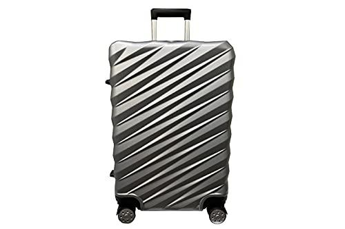 Valigia Trolley ABS Rigido Ultraleggero Tg M 58x42x27cm Silver 4 Ruote Girevoli