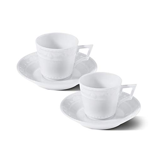 KURLAND Espresso-Set Porzellan von KPM Berlin - Espresso-Tassen - Porzellan-Tassen -Handmade & als Geschenk verpackt - die perfekten Espresso-Tassen für einen gelungenen Start in den Tag - Weiß
