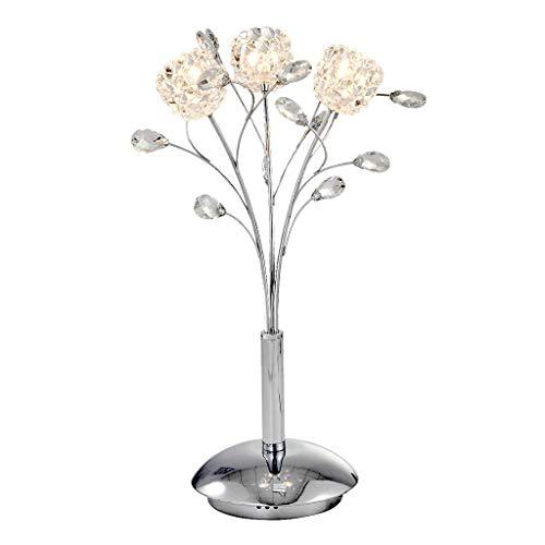 NYKK Lámpara Mesa Cristal Elegante Cromado Moderna lámpara de Mesa for el Dormitorio Mesilla de Noche decoración de la Tabla de la lámpara luz de la Noche, H 21.3' lámpara Mesilla (Color : Silver)
