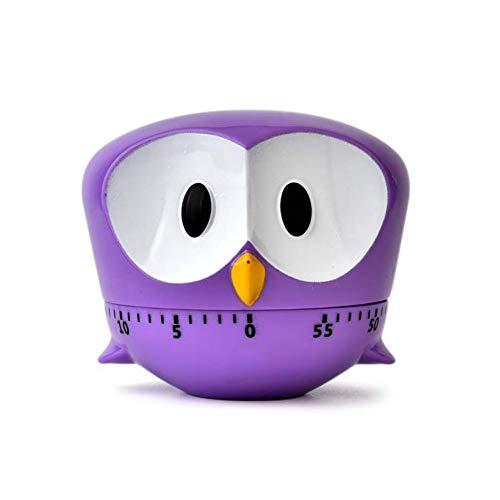 Xiton 1 StüCk Niedlichen Cartoon Owl Timer Mini 60 Minuten Mechanische KüChe Kochen Timer Uhr Laut Alarm ZäHler Manuelle KüChe Timer (Lila)