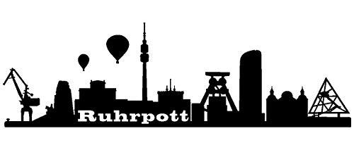Samunshi® Wandsticker Ruhrpott Skyline Wandtattoo Aufkleber City Ruhrgebiet viele Farben und Größen sofort lieferbar in 7 Größen und 25 Farben (70x21cm schwarz)