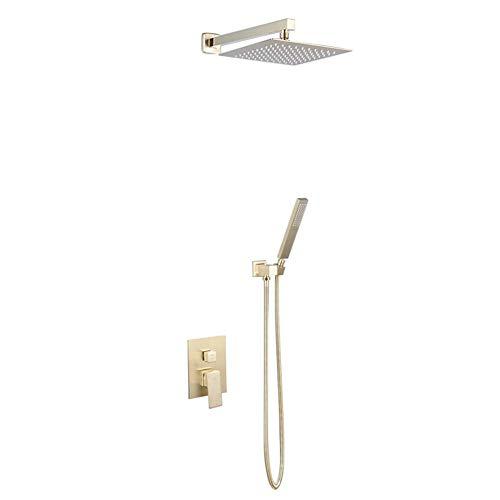HYZXK Sistema de Ducha, baño de latón de Oro Cepillado montado en la Pared, 10-12 Pulgadas, Sistema de Grifo de Ducha de Lluvia, Juego de Mezclador con Ducha de Mano, Juego de Ducha, 8