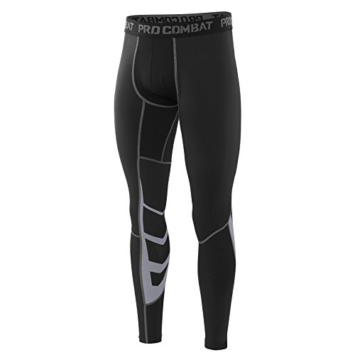 AMZSPORT Herren Fitness Hose Pro Cool Compression Tights Funktionswäsche Pants,Schwarz, M