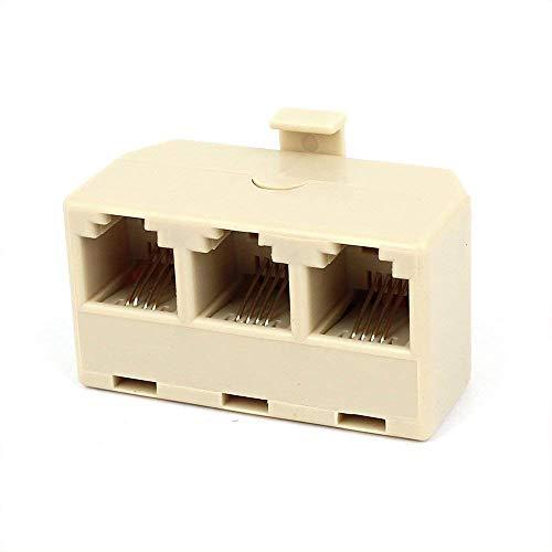 Ogquaton Adaptador de teléfono RJ11 6P4C Macho a 3 Conector Hembra de teléfono Conector de línea telefónica Splitter