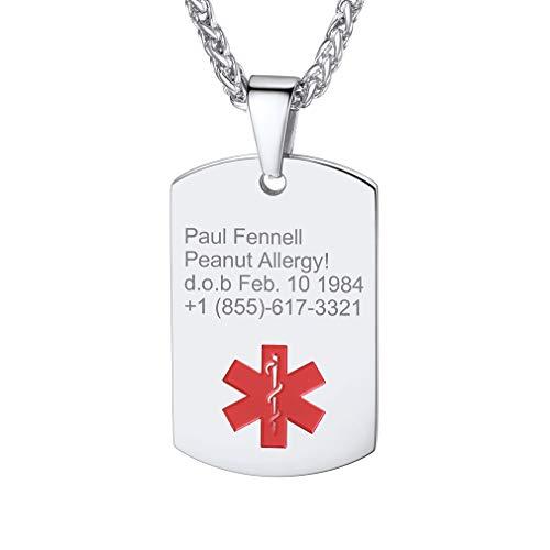 Custom4U Cruz Roja Chapa Rectangular Medical Colgante Acero Inoxidable Plateado Collar Personalizado de Hombre y Mujer Joyería de Identificaciones para Abuelos Enfermos Anchanos