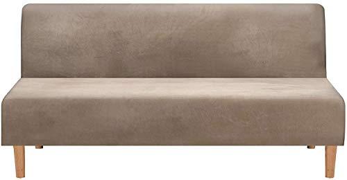 LINGKY Samt Armless Sofa Schonbezug, Thicker Stretch Schlafsofa Bezüge Möbelschutz Einfarbig Anti-Rutsch-Stretch Couchbezüge Passt Klappsofa Bett Ohne Armlehnen (Taupe)