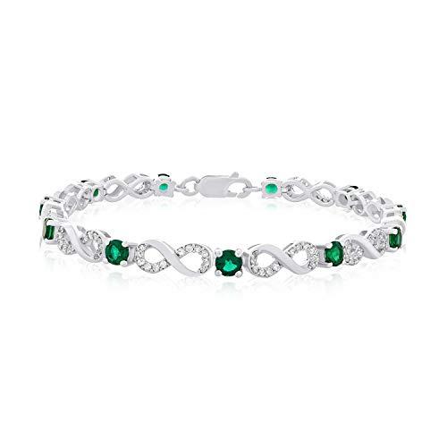 .925 Sterling Silver, Lab-Grown Emerald & Lab-Grown White Sapphire Alternating Infinity Link Tennis Bracelet - 7-1/4'