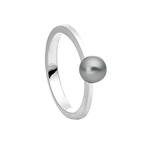 Heideman Ring Damen aus Edelstahl Silber farbend poliert Damenring für Frauen mit Swarovski Perle schwarz rund 6mm
