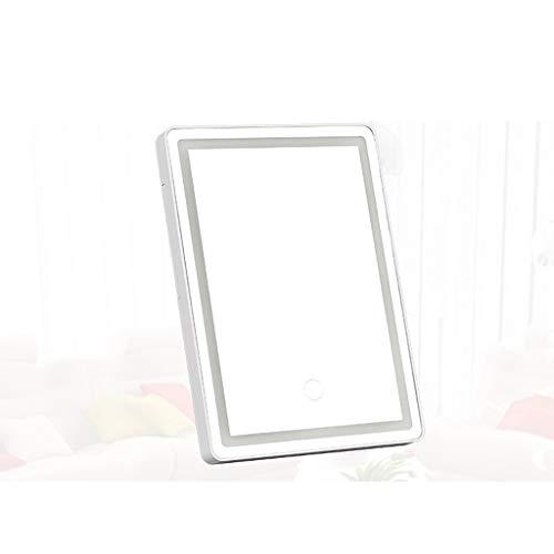 Espejo LED Espejo de maquillaje ligero, portátil de sobremesa telescópico ajustable plana almacenamiento Espejo de baño, utilizados for trabajos de viajes luces LED de 7 veces Espejo para maquillarse