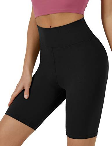 VALANDY Pantalones cortos de motociclista para mujer, cintura alta, pantalones cortos de entrenamiento, pantalones de yoga de 8 pulgadas, suaves opacos, Negro, S-M
