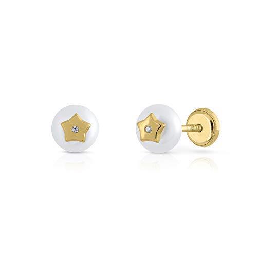 Pendientes oro 18k, 9k, bebe niña o mujer, modelo perla botón con diseño central estrella con circones engastadas. Cierre de seguridad. Elija el suyo.