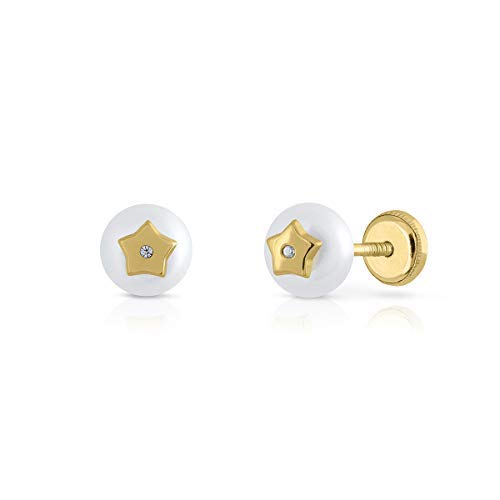 Pendientes oro 18k, 9k, bebe niña o mujer, modelo perla botón con diseño central estrella con circones engastadas. Cierre de seguridad. Elija el suyo. (9 k - Rosca)